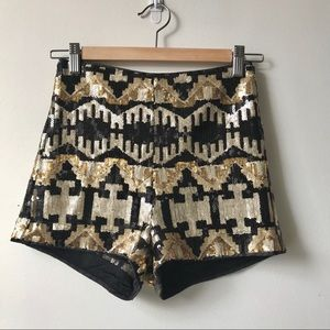 "NYE 24"" Sequin shorts! gold FUN"